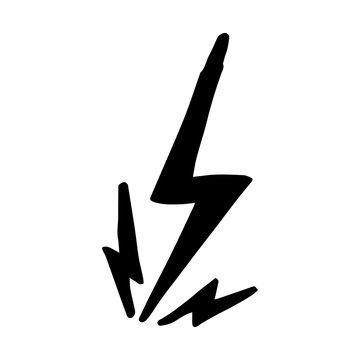 hand drawn vector doodle electric lightning bolt symbol sketch illustrations. thunder symbol doodle icon .design element isolated on white background