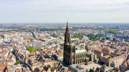 Fototapeta Strasbourg, France. The historical part of the city, Strasbourg Cathedral, Aerial View