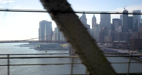 Fototapete - New York City downtown buildings skyline from subway train