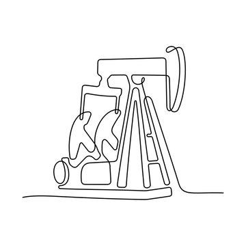 Oil pump jack continuous line vector illustration