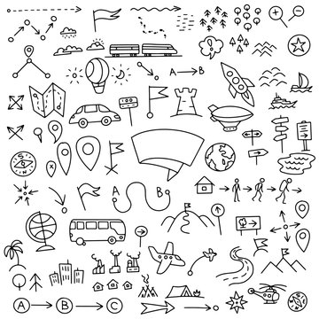 Set of geographic map signs. Hand drawn doodle sketch vector stock black line outline.