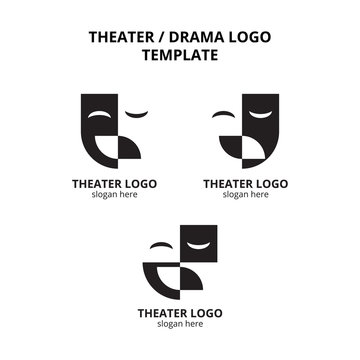 set of theater mask actor logo template vector icon element