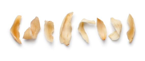 Dried lily bulbs isolate on white background. Chinese herbal medicine.