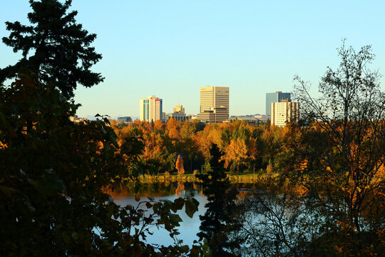 Anchorage, Alaska / USA - September 29 2018: downtown Anchorage, Alaska seen across Westchester Lagoon in the late afternoon.
