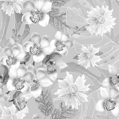 Photo sur Plexiglas Fleurs Vintage Seamless monochrome floral pattern. White flowers, orchids on a gray background.