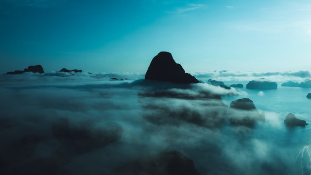nature landscape limestone and mist cinematic picture style aerial view