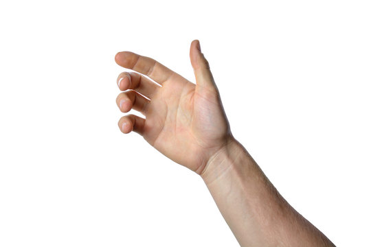 gesture of the hand for holding smartphone or bottle