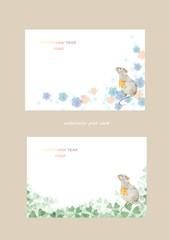 年賀状セットネズミと花