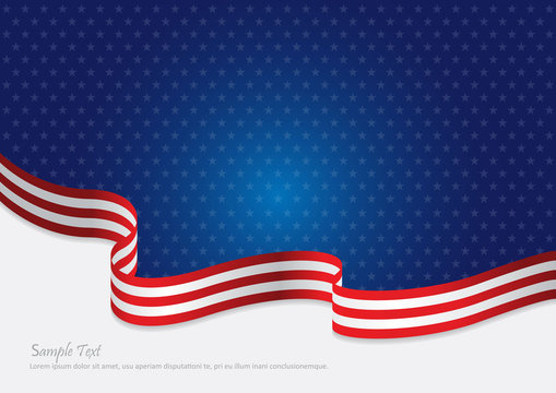 USA Flag background for honoring veterans, independence day or fourth of July