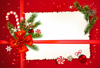 Fotomurales - Decorations on red holiday background