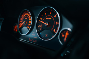 Sport car dashboard with illumination