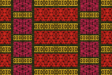 Yellow and red pattern of an ethnic fabric