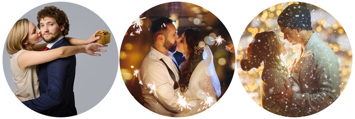 Collection of pictures with couples at celebrations - wedding, Christmas, Valentine's Day
