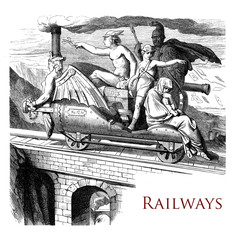 Vintage chapter page describing the history of the railways transport and travel decorated with mythological figuren and god hermes as messenger