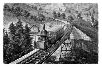 Mount Rigi railways in Switzerland was the first mountain rack railway in Europe with a cable car using rack and pinion technology