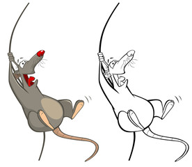 Foto auf Leinwand Babyzimmer Vector Illustration of a Cute Cartoon Character Rat for you Design and Computer Game. Coloring Book Outline Set
