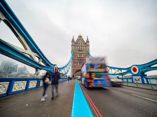 Traffic scene on the Tower Bridge of London
