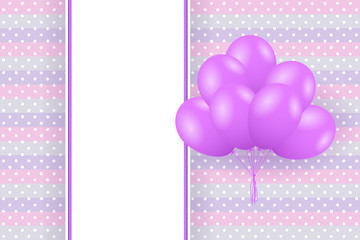 Baby shower card. Greeting card with balloons