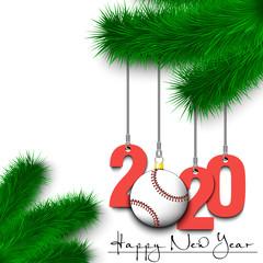Baseball ball and 2020 on a Christmas tree branch