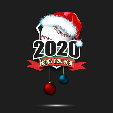 Happy new year 2020 and baseball ball in santa hat