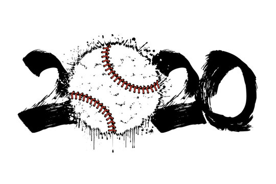 Abstract numbers 2020 and baseball ball from blots