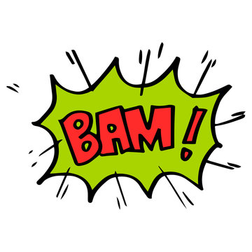 Hand drawn comic speech bubbles with emotion and text bam. vector doodle comic explosion cartoon illustrations isolated for posters, banners, web, and concept design