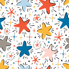 Estores personalizados infantiles con tu foto Twinkle Cute Stars Vector Seamless Pattern. Starry Space Sky Vector Festive Wallpaper. Vector Holiday or Birthday Background.