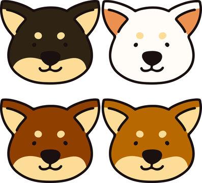Set of Shiba inu faces