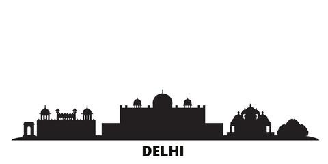 Deurstickers India, Delhi city skyline isolated vector illustration. India, Delhi travel cityscape with landmarks
