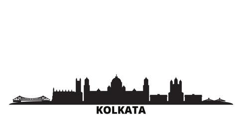 India, Kolkata city skyline isolated vector illustration. India, Kolkata travel cityscape with landmarks Papier Peint
