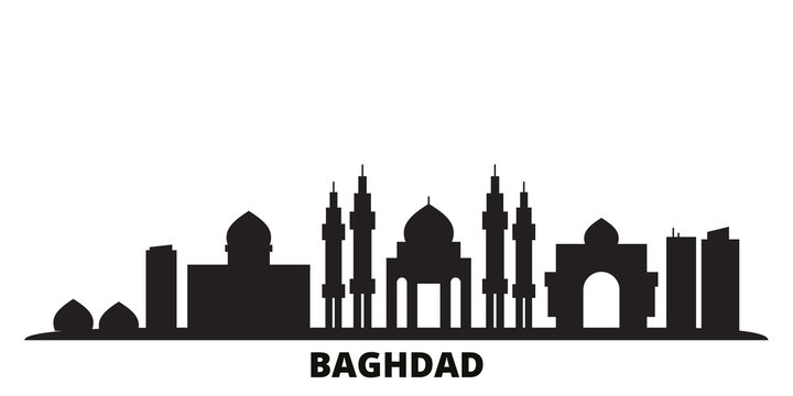 Iraq, Baghdad city skyline isolated vector illustration. Iraq, Baghdad travel cityscape with landmarks