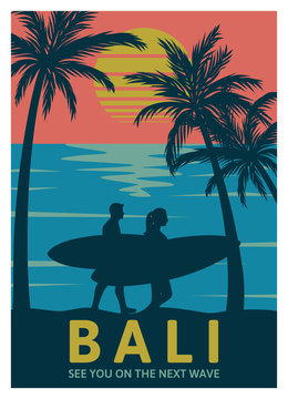 Bali see you on the next wave vintage retro poster template