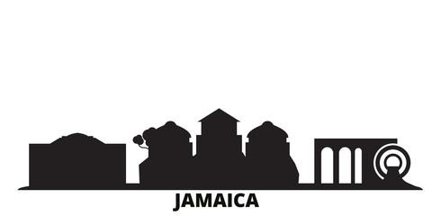 Jamaica city skyline isolated vector illustration. Jamaica travel cityscape with landmarks