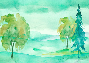 Watercolor painting, picture, landscape - green forest, nature, tree. It can be used as logo, card, illustration. Fir, cedar, pine, oak, watercolor birch. Green hill in the haze.