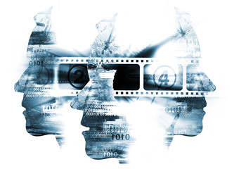Film viewer, Cinema film background. Cinema background with three  stylized male head silhouetes with binary codes and camera film.