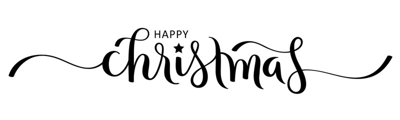 Wall Mural - MERRY CHRISTMAS black vector brush calligraphy banner with swashes