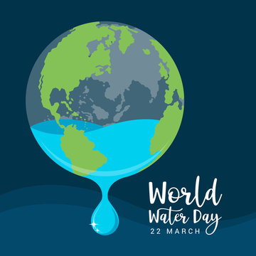 world water day banner with Water droplets flowing out of the earth circle on dark blue background