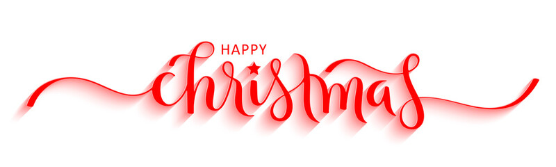Wall Mural - MERRY CHRISTMAS red vector brush calligraphy banner with swashes