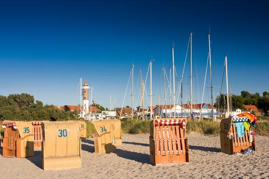Beach with dunes landscape in Timmendorf, Poel, Mecklenburg Vorpommern,Germany, Europe