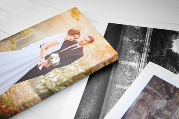 Wedding photo printed on canvas. Sample of stretched wedding photography with gallery wrapping. Canvas prints