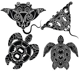 Set of graphic sea turtle and vector stingray or manta ray.
