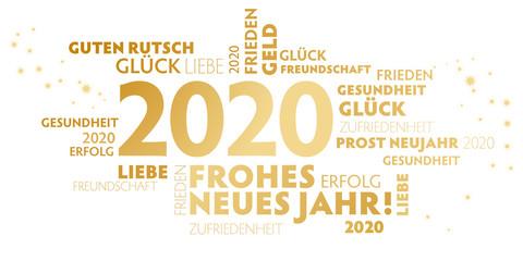 2020 Neujahrsgruß weiß und gold mit guten wünschen für das neue Jahr