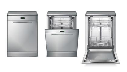 Dishwasher Machine Grey Set