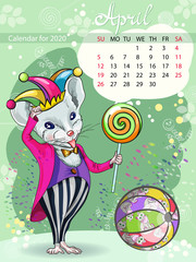 Calendar for the year 2020 of the white rat. Handwritten inscription of the month April. Decorative greeting card with laughter Day and New year. The image of the mouse clown.