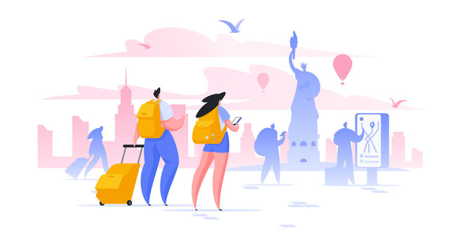 Sightseeing holiday in New York flat vector illustration male and female tourists taking photo