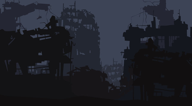 cartoon background of the ruins of the city of post apocalypse