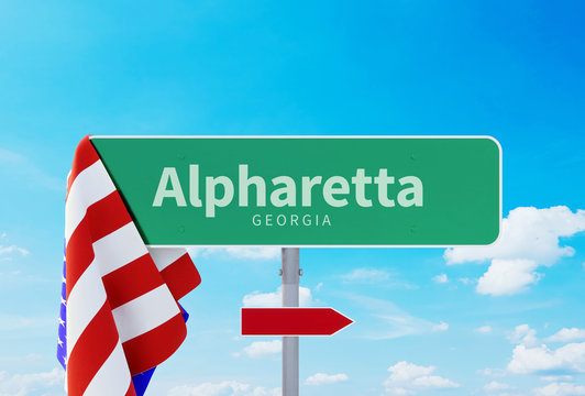 Alpharetta – Georgia. Road or Town Sign. Flag of the united states. Blue Sky. Red arrow shows the direction in the city. 3d rendering
