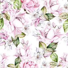 Fototapeta Beautiful watercolor seamless pattern with roses and anemone flowers.  obraz