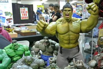 KUALA LUMPUR, MALAYSIA -NOVEMBER 26, 2017: Selected focused of HULK character action figures from Marvel Superheroes movie. The action figures come with a variety of hulk characters