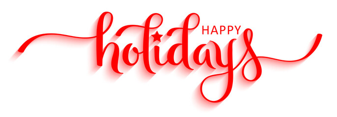 Wall Mural - HAPPY HOLIDAYS vector red relief brush calligraphy banner